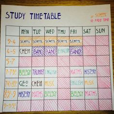 Study Time Table To Make Sure That You're Revising Each of Your Subjects - A DIY Back to School Organization Hack for Kids and Teens of All Ages. Study Time Table To Make Sure That You're Revising Each of Your Subjects - A DIY Back to School Orga High School Hacks, Life Hacks For School, Diy Back To School, School Study Tips, Back To School Ideas For Teens, Diy School, High School Time Table, Back To School Supplies Diy, Planning School