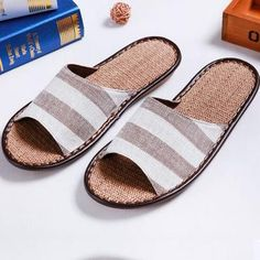 Fashionable Flower Printed Hemp Band Slippers