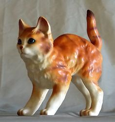"Orange Tabby Cat Kitten Vintage Ceramic Figurine Stripes Blue Eyes 4"" Standing"