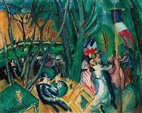 LE BAL POPULAIRE, 1906 Raoul Dufy (French, 1877–1953) fue un pintor FAUVISTA, artista gráfico y diseñador textil francés. Desarrolló un estilo colorido y decorativo que se hizo popular en diseños para cerámica, tejidos y esquemas decorativos de edificios públicos. Destaca por sus escenas de acontecimientos sociales al aire libre.