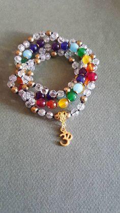 Chakra Mala, 108 Mala Beads, Crystal, Agate, Hematite, Om Necklace, Japa Mala, Spiritual Jewelry, Meditation Necklace by AkashaMalas on Etsy Om Necklace, Chakra Necklace, Chakra Jewelry, Beaded Necklace, Beaded Bracelets, Crystal Beads, Agate Beads, Beads For Sale, Spiritual Jewelry
