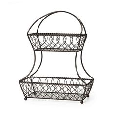 Gourmet Basics 2 Tier Flatback Basket Loop Lattice Wire