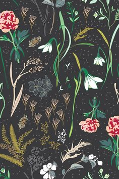 Enchanted floral (charcoal) by nouveau_bohemian.  Beautiful hand illustrated flowers on a charcoal background.  Available in fabric, wallpaper, and gift wrap.