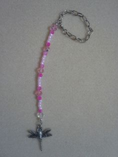 Handmade Pink Beaded Dragonfly Charm Rear View Mirror Ornament