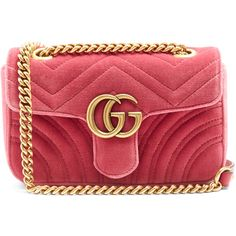 Gucci GG Marmont mini quilted-velvet cross-body bag (€1.140) ❤ liked on Polyvore featuring bags, handbags, shoulder bags, gucci, pink, mini crossbody purse, gucci handbags, pink crossbody purse, red crossbody and gucci crossbody