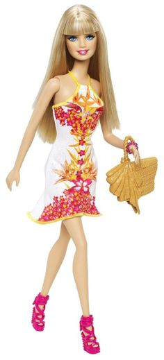 Barbie Fashionista Barbie Doll, White Floral Dress - Free Shipping