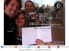 """muchas gracias amig@s Mayela Montero (Directora Radio Azul TeCsn, Tecnológico de Monterrey Campus Sonora Norte) y Manolo Valdes (Dir. Los 5 Sentidos Culinarios.), hoy oficialmente sale a la venta """"Nuestro Recetario CMS"""" !!! Buena vibra!!! #chefcms #hablandodecocina #nuestrorecetario #nr2 #5sculinarios #azul83 #tecmonterrey #hermosillo #receta #recetario #cocina"""