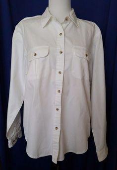 Lands End White Button down Shirt Long Sleeve Career Cotton Woman M 10 12 Medium #LandsEnd #ButtonDownShirt #Career