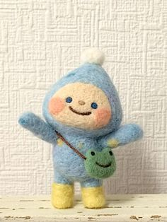 cute kawaii little baby in a snow suit mini felt doll figure , love the frog bag 雨粒ちゃん