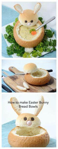 DIY Easter Bunny Bread Bowls.