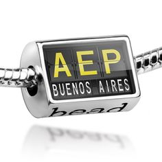 Amazon.com: Bead AEP Airport Code for Buenos Aires - Charm Fit All European Bracelets, Neonblond: Clothing