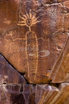 Ancient Shoshonean petroglyph, Lower Renegade Canyon, Coso Range, National Historic Landmark, Ridgecrest, California.