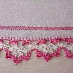 Pano de Prato - Barrado em Crochê - Mod 8 Crochet Lace Edging, Crochet Cardigan Pattern, Crochet Borders, Cotton Crochet, Crochet Doilies, Crochet Stitches, Crochet Home, Crochet Baby, Love Crochet