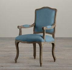 Vintage French Camelback Upholstered Armchair // Belgian Linen, French Blue