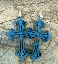 Gothic Cross  Laser Cut Wooden Earrings by GreenTreeJewelry, $12.95