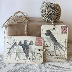 "Mixed set of 'Swallow"" Gift Tags, by Claryce Design. Tag Art, Card Tags, Gift Tags, Paper Art, Paper Crafts, Gift Labels, Illustrations, Bird Feathers, Altered Art"