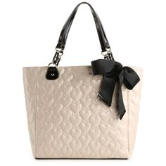 Betsey Johnson Mine & Yours Tote - Ivory ($90) ❤ liked on Polyvore featuring bags, handbags, tote bags, purses, bolsas, borse, totes, betsey johnson, pink handbags and ivory purse