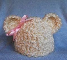Baby Girl Hat with Ears Crochet Baby Hat Cream Fluffy Newborn Teddy Bear Ears Beanie With Pink Bow Baby Photo Prop Infant Bear Hat @Carmen Merino