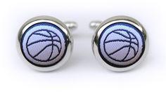 Basketball cufflinks in navy