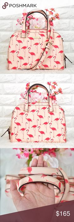 Kate Spade Newbury Lane Flamingo LIKE NEW. Color: Flamingo Printed in Pink Material: Crosshatched Leather  Dimension: 11.5L x 8.5H x 4.5W  • No stains, rips or tears.  • Price is firm. Sell only, No trades. kate spade Bags Satchels