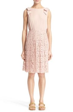 VALENTINO Bow Detail Georgette & Lace Dress. #valentino #cloth #