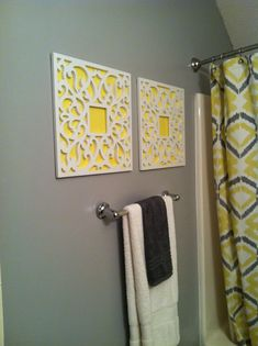 #DIY #frames #posterboard yellow and gray bathroom