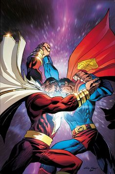 Shazam vs Superman by Andy Kubert Marvel Dc Comics, Dc Comics Superheroes, Dc Comics Characters, Dc Comics Art, Marvel Vs, Mundo Superman, Superman Art, Captain Marvel Shazam, Shazam Comic
