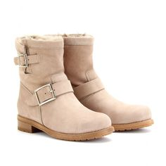 mytheresa.com - Jimmy Choo - YOUTH BIKER-STYLE SHEARLING BOOTS - Luxury Fashion for Women / Designer clothing, shoes, bags