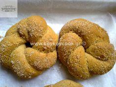 Greek Cookies, Biscuit Cookies, Healthy Desserts, Bagel, Doughnut, Biscuits, Sweets, Bread, Baking