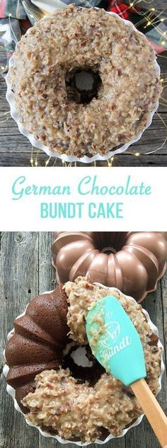 Make this German Chocolate Bundt Cake! With a gooey coconut, pecan and caramel frosting that complements this subtle chocolate flavoured cake. Chocolate Bundt Cake, Chocolate Flavors, Chocolate Tarts, Chocolate Food, Mini Bundt Cake, German Chocolate Cookies, Banana Bundt Cake, Nutella Cake, Cupcakes