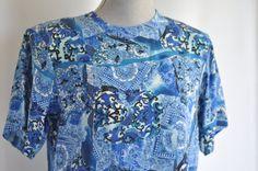 Oscar de la Renta 90's blue toile silk by VintageMindedMaven, $24.00 #designer #vintage #90s #oscardelarenta #silk #blouse
