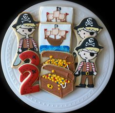Decorated Pirate Cookies with numbers, treasure, and ships. $ 42.