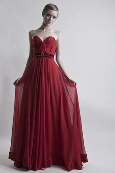 Scarlet Silk Hand Gathered Bustier Gown