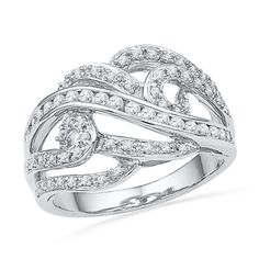 1/2 CT. T.W. Diamond Multi-Swirl Ring in 10K White Gold
