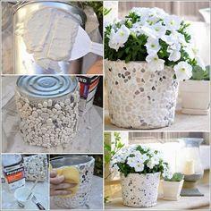 Como fazer Vaso revestido de pedregulho | Artesanato na Prática
