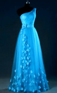 Blue One Shoulder Tulle Party Dress With Floral Detail, Elegant Evening Dress, Wedding Party Dresses - Evening Dresses Pretty Prom Dresses, Elegant Prom Dresses, Tulle Prom Dress, Ball Gown Dresses, Wedding Party Dresses, Homecoming Dresses, Cute Dresses, 1950s Dresses, Tulle Wedding