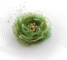Organza Flower Brooch - Fabric Flower - Corsage Brooch - Gold Green Flower - Party Wedding Accessory