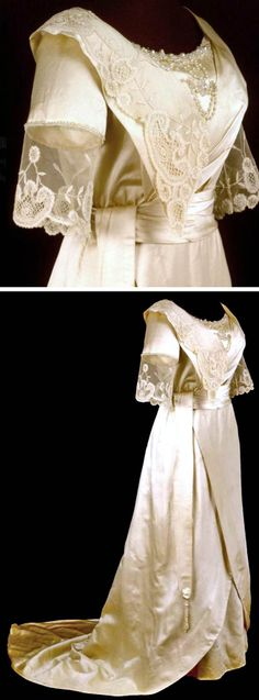 Wedding dress, Westbrook, ME, ca. 1912. It is silk and has lace around the neck. Princess lace and beads. Maine Historical Society