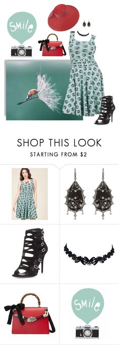 """Ladybug hunting"" by highly-fashionable-shark ❤ liked on Polyvore featuring Effie's Heart, Annoushka, Giuseppe Zanotti, Gucci, Seventy Tree, vintage, GiuseppeZanotti, gucci, strawhat and summerbooties"