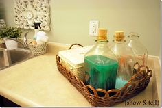 Love this idea for detergent and softener.