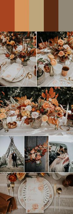 6 Rust-Colored Wedding Palettes to Create a Retro Vibe - Wedding - Happy Wedding. 6 Rust-Colored Wedding Palettes to Create a Retro Vibe - Wedding - Happy Wedding - Fall Wedding Colors, Wedding Color Schemes, October Wedding Colors, Coral Color Wedding, Wedding In October, Champagne Color Wedding, Wedding Color Palettes, Autumn Wedding Flowers, Autumn Wedding Decorations