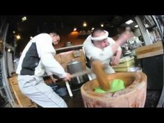 Mochi-Pounding Process in Nara, Japan. [So, that's how you fold in a dash of kung fu into your food!]