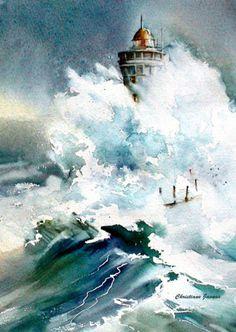 Avis de tempête aquarelles-christiane-javaux.
