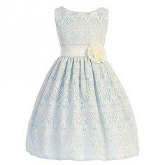 Sweet Kids Big Girls Light Blue Vintage Lace Junior Bridesmaid Dress 7-12
