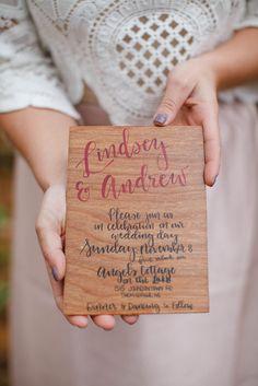 Wooden Wedding Invitation | Fall Wedding Inspiration