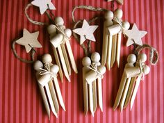 Remember the reason for the season with these primitive-looking ornaments. Theyre made from three clothespins to represent Joseph, Mary and baby Jesus. A wood star is connected to the trio with wire, and the whole ornament hangs by a piece of craft jute. Makes a great gift!    This listing is for THREE ornaments. If youd like a larger or smaller quantity, feel free to convo me! I do have a listing for just one ornament here:  http://www.etsy.com/listing/56439309/cloth...