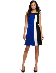 Calvin Klein Women's Color Block Pleated Dress