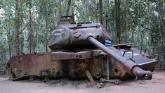 An American tank destroyed by Viet Congs during Vietnam War