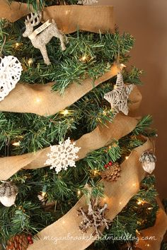 Rustic Christmas Tree- like the burlap ribbon and on her blog, I like her wrapping paper (brown craft paper from dollar store with raffia bows).