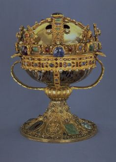 The Reliquary of St. Elizabeth is believed to have contained the head of saint Elizabeth of Hungary. The oldest part is an agate bowl made during the Late Antiquity, sometime between the 4th and 7th centuries AD. Other parts were made during the 11th century, and the base of the reliquary as well as parts of two royal crowns that are incorporated into it date from the 13th century. It is today displayed in the Swedish History Museum in Stockholm